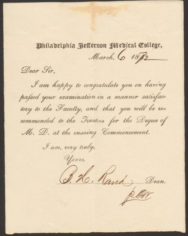 A printed form from Philadelphia Jefferson Medical College signed by the Dean.