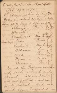 A handwritten page in a diary listing the order in which the students were to be examined.