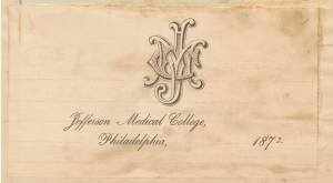Card featuring the logo of the college, entwined letters J, M, and C.