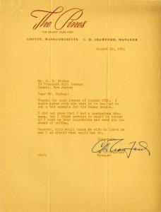 Typewritten letter on The Pines letterhead.