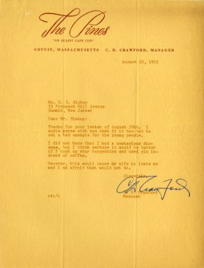 Typewritten letter on The Pines letterhead.