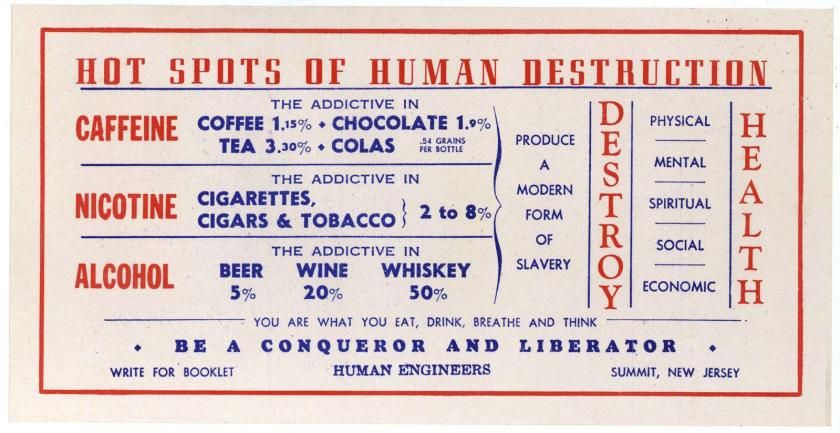 An informational card warning of the addictives caffeine, nicotine, and alcohol.
