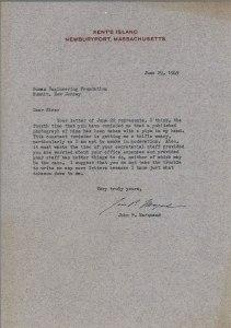 Typewritten letter on Kent's Island NewburyPort, Massachusetts letterhead.