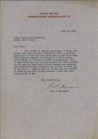 Typewritten letter on Kent's Island NewburyPort, Massachusetts letterhead.