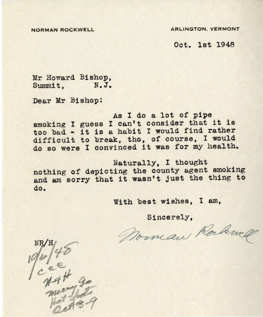 Typwritten signed letter from Norman Rockwell in reply to Howard Bishop.