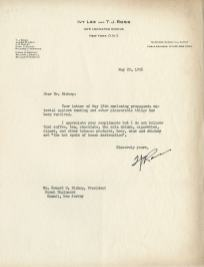 Typewritten letter on Ivy Lee dna T. J. Ross letterhead.