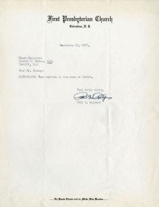 Typewrittern letter, on First Presbyterian Church, Columbus, N. J. Letterhead.
