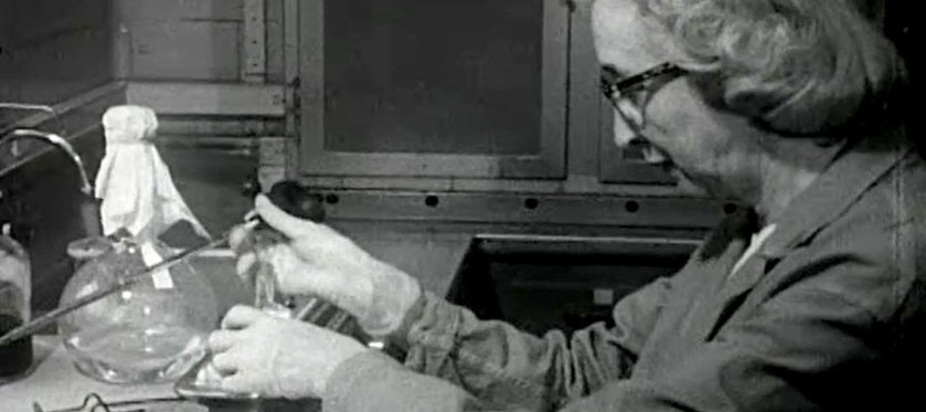 A white woman in rubber gloves prepares a sample.