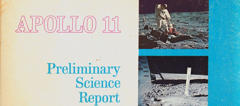 Cover of an official report on Apollo 11 by NASA illustrated with photographs from the landing on the lunar surface.