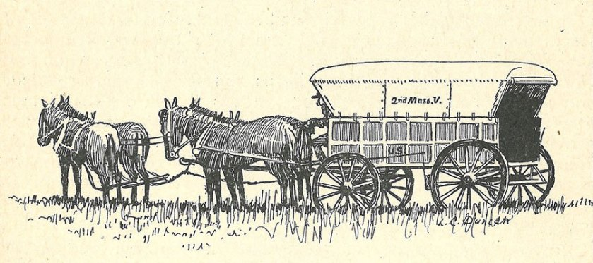 An engraving of a covered wagon pulled by a team of 4 horses.