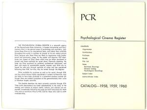 Title page of the 1958-60 Psychological Cinema Register catalog.