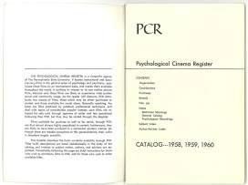 Title page of the 1958-60 Psychological Cinema Register catalog.