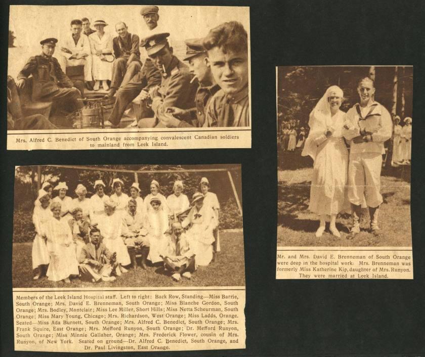 Scrapbook page of three newspaper cutouts.