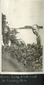 Scrapbook photo of friends at the shore.