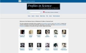 The third Profiles in Science homepage with thumbnails for each profile.