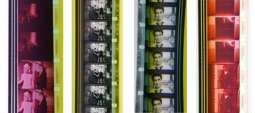 Four 16mm color film strips.