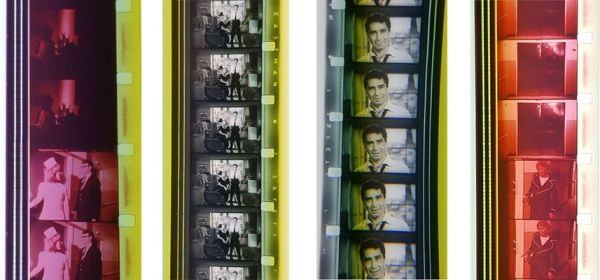 Four 16mm color film strips.