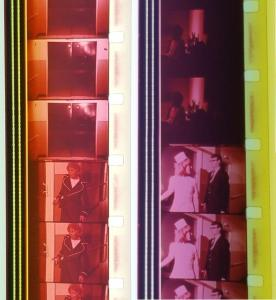 Two strips of 16mm film, one features a nurse talking to a man.