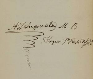 Embellished signature of Alexander J. Augusta.
