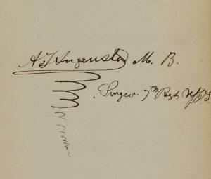 Embellished signature of Alexander J. Augusta.