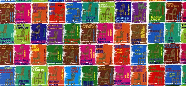 Multi-color magazine spread showing 200 stamp-like pictures of chairs with names of AIDS victims in the fashion industry