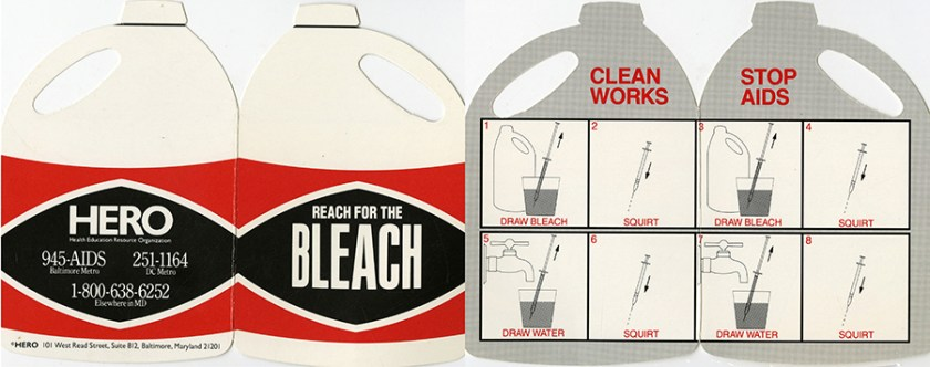 Bleach-shaped leaflet that opens to instructions on how to clean a syringe with bleach and water