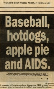 Newspaper advertisement about AIDS from the New York Times