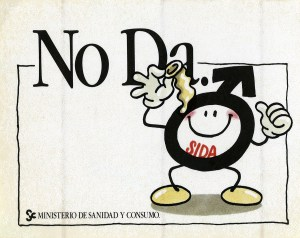 Advertisement featuring a male symbol (Mars) with arms and legs, holding a condom and giving a thumbs up sign