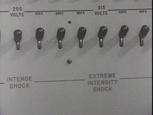 Screenshot from the film obedience showing the device used to select the intensity of shocks.