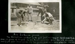 Scrapbook page of men playing croquet