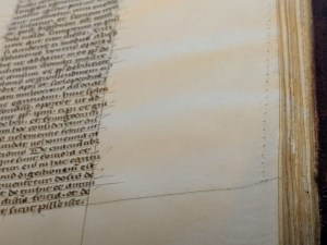 A line of pricked holes on the edge of the parchment page.