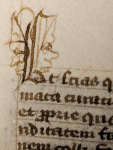 A detail of the start of a text block beginning with an L decorated with faces in profile on either side.
