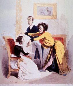 A drawing of a man in a robe and dramatic posture hipnotising a youn woman sitting in a chair.
