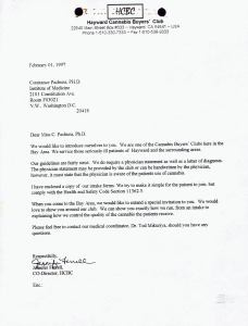 Letter from the Hayward Cannabis Buyers Club