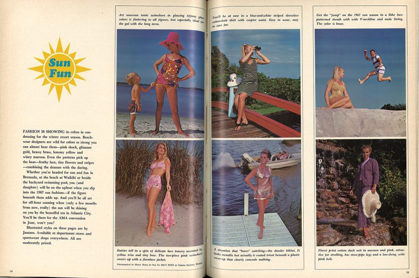 A two page color spread in an article on bathing fashion.