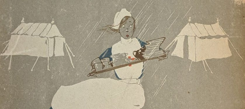 A nurse carrying a tray through the rain between tents.