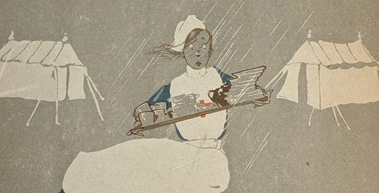 A nurse carrying a tray through the rain between tents.