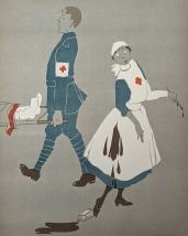 A nurse spills a staining liquid on her apron as an orderly carries a stretcher.