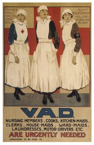 A poster shows three brave nurses and reads Urgently Needed.
