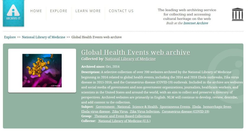 A screenshot of the NLM Global Health Events web archive page on ArchiveIt.