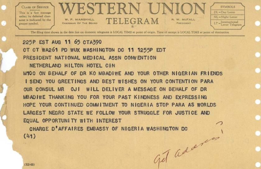 A Western Union telegram from the Embassy of Nigeria, Washington, DC, to Dr. Leonidas H. Berry