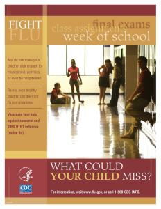 A CDC poster for vaccination showing teens in a high school hallway.