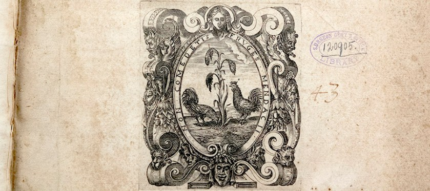 Detail of Cover page of text and illustration of a roosters eating corn.