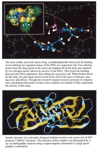 Two images of 3D structures of anti-cancer drugs and inhibitors.
