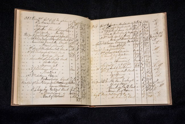 Photograph of a small square notebook of patient registers at Mansion House Hospital.