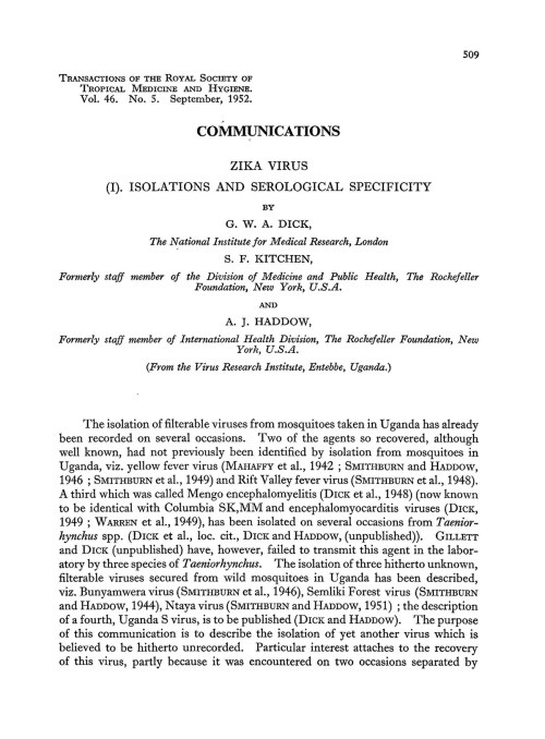 Journal article describing first encounters with Zika in 1952