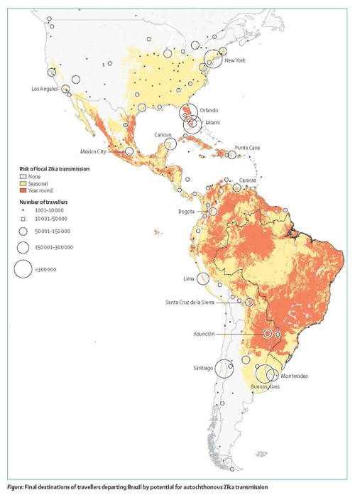 Map tracking numbers of travelers through Zika-endemic regions and the seasonal and year round risk of transmission. High risk high travel number areas include Orland, Miami, Cuba, Asuncion, Buenos Aires, and Monevideo.
