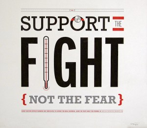 "Title words dominate the poster; the ""o"" in ""support"" has a doctor's head lamp, the word ""the"" has red bars above and below, the ""i"" in ""fight"" is shaped like a thermometer, and the phrase ""not the fear"" is enclosed in red brackets"
