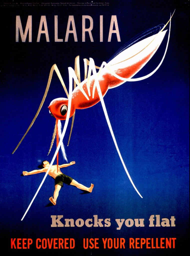 Illustration of a huge mosquito standing over the body of a man lying on the ground