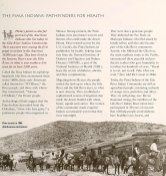 "Page from a Pamphlet titled The Pima Indians"" Pathfinders for Health illustrated with a photograph of men on horses in an arid landscape."